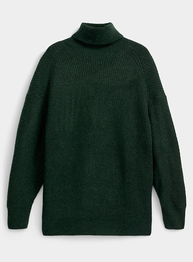 Icône Mossy Green Loose ribbed turtleneck sweater for women