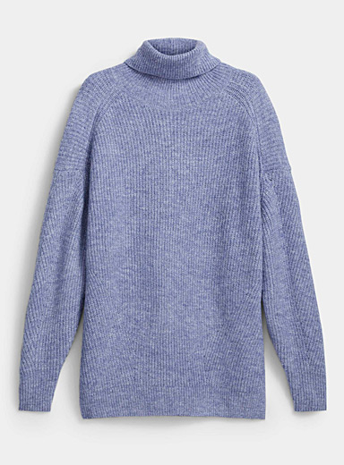 Icône Baby Blue Loose ribbed turtleneck sweater for women