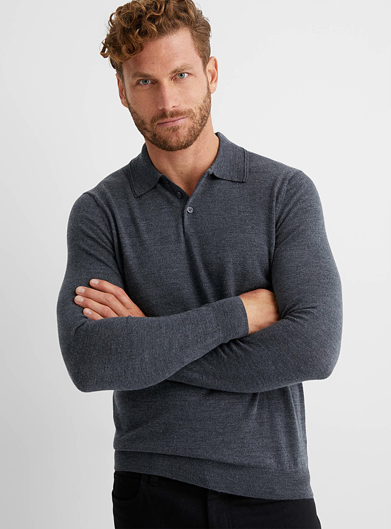 Le 31 Charcoal Responsible merino wool polo for men