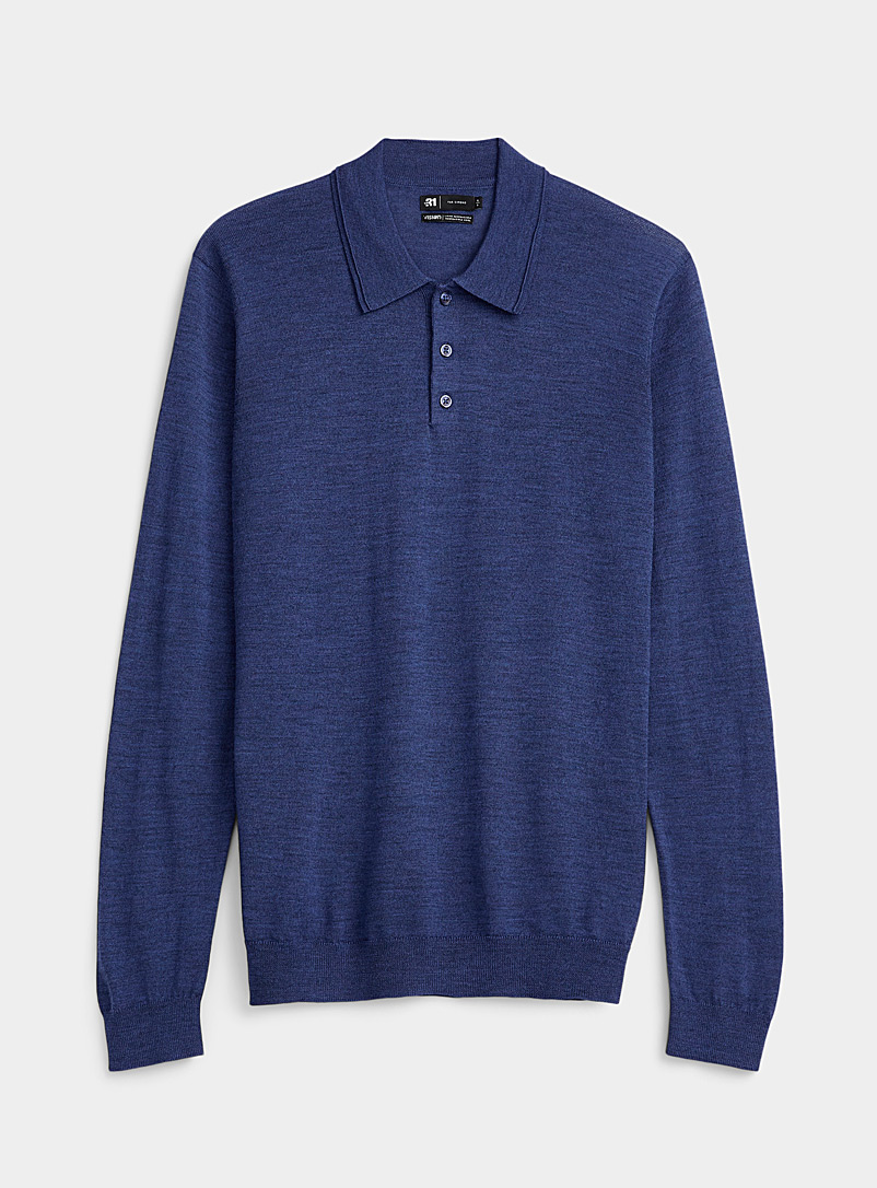 Le 31 Sapphire Blue Responsible merino wool polo for men