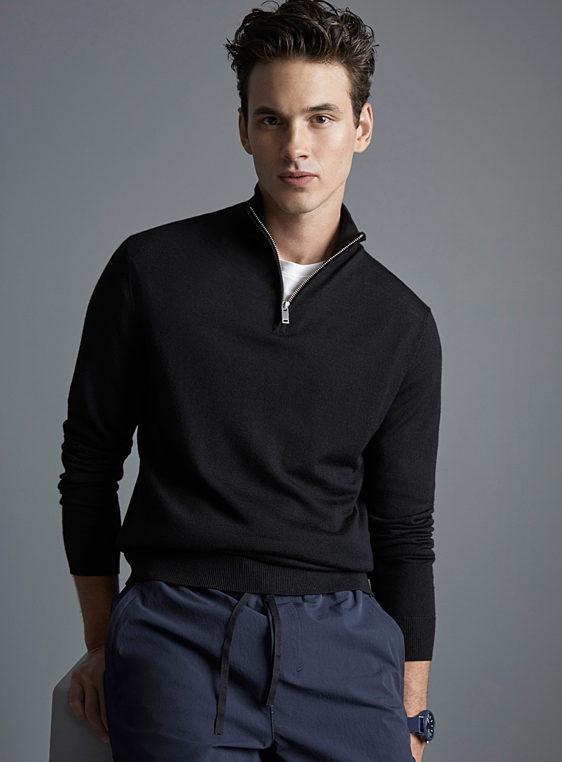 Le 31 Black Half-zip collar merino wool sweater for men