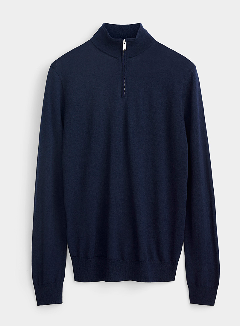 Le 31 Marine Blue Responsible merino half-zip collar sweater for men