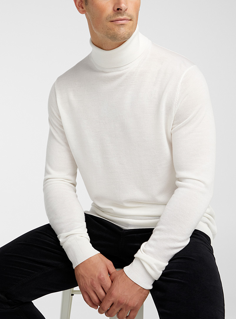 Le 31 Ivory White Responsible merino wool turtleneck for men
