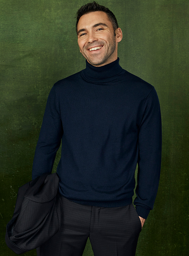 Le 31 Marine Blue Responsible merino wool turtleneck for men