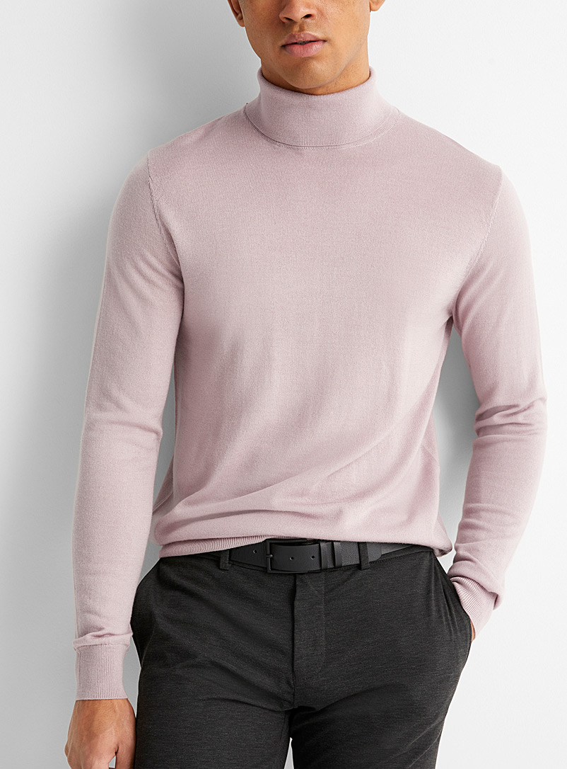 Le 31 Pink Responsible merino wool turtleneck for men