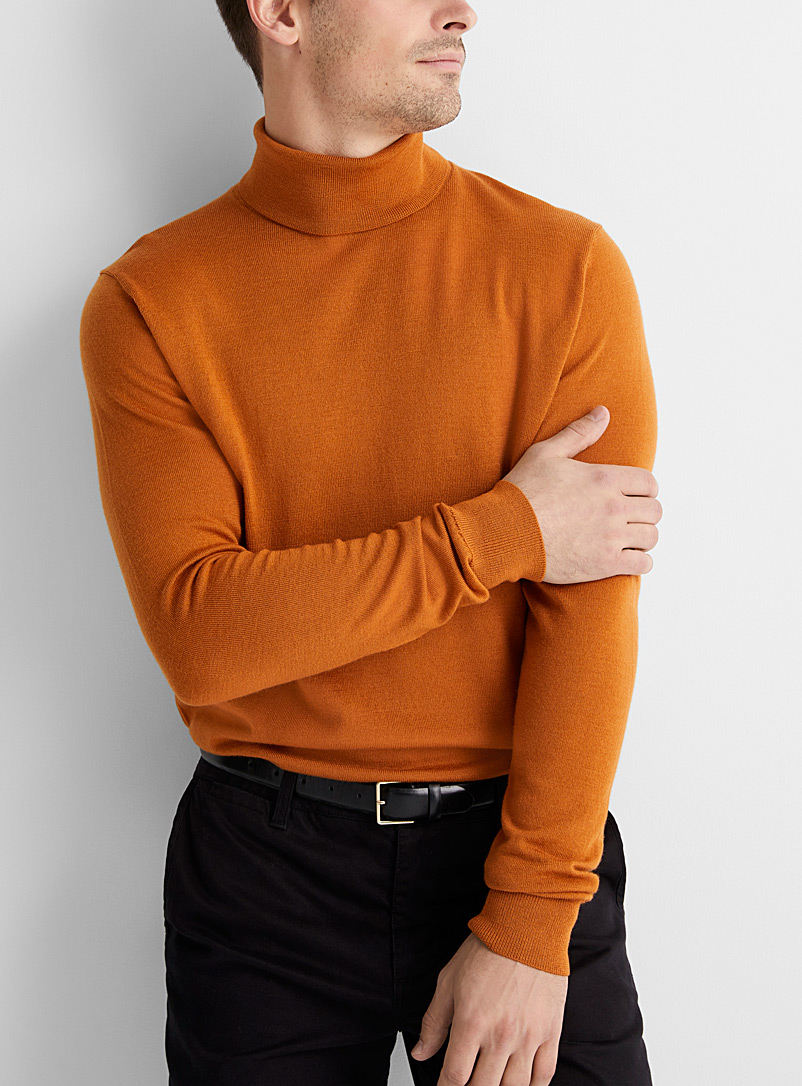 Le 31 Dark Yellow Pure merino wool turtleneck for men
