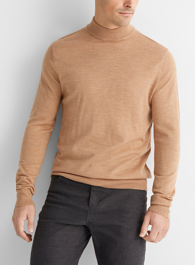 Le 31 Tan Pure merino wool mock neck for men