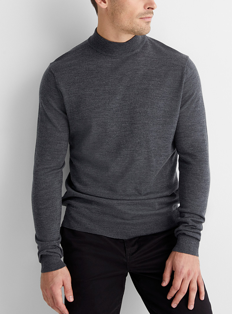 Le 31 Oxford Pure merino wool mock neck for men