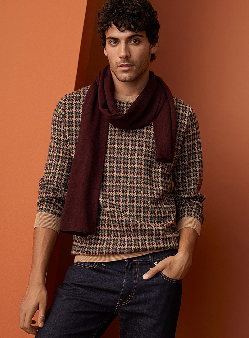 Le 31 Tan Houndstooth check merino sweater for men
