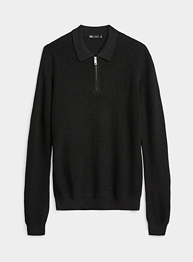 Le 31 Black Zipped polo sweater for men