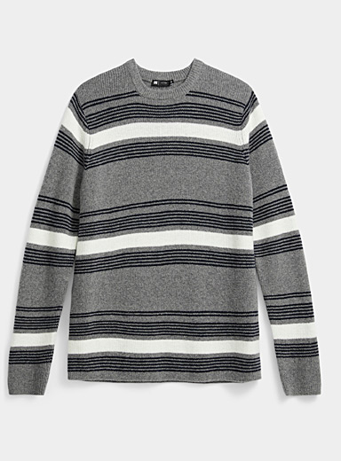 Le 31 Oxford Mixed stripe sweater for men