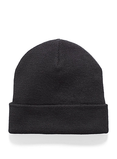 Simons Black Wide cuff tuque for women