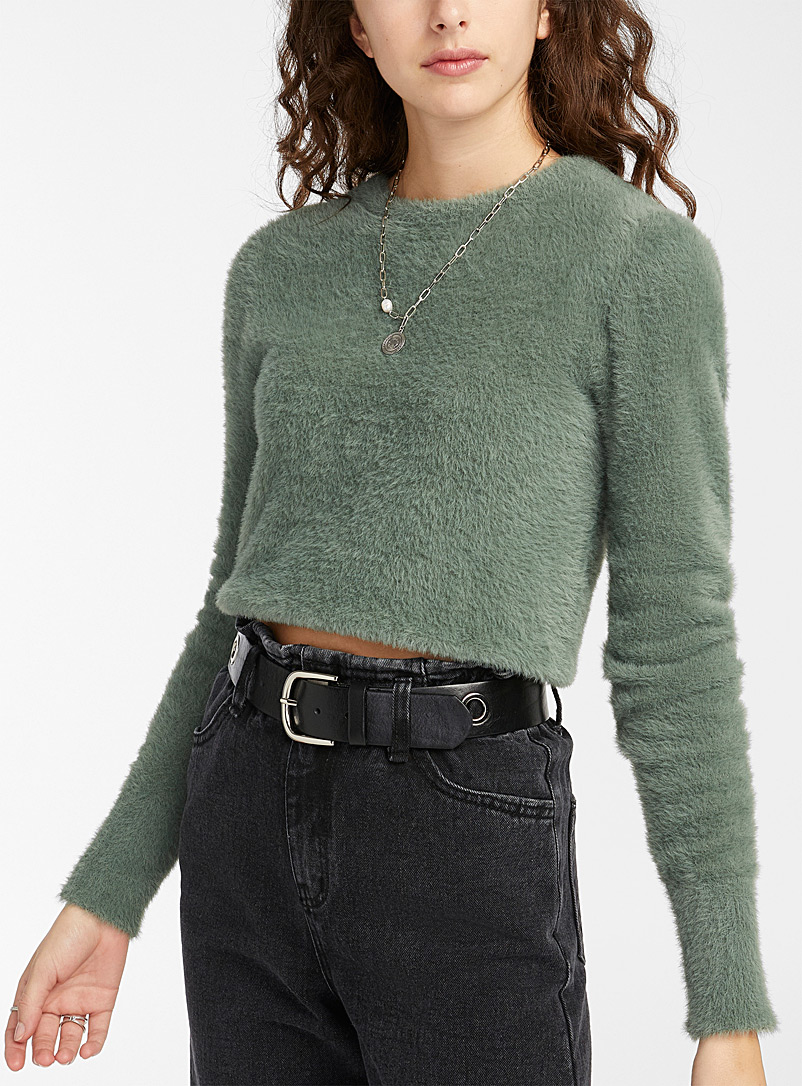 Twik Green Basic chenille sweater for women