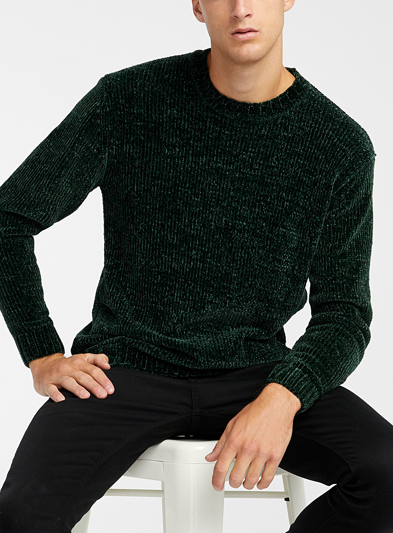 Le 31 Mossy Green Chenille knit sweater for men
