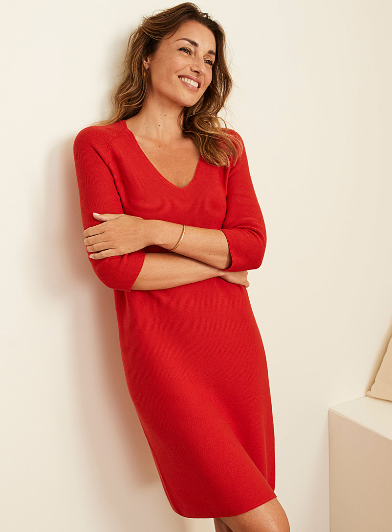 Contemporaine Bright Red V-neck sweater dress for women