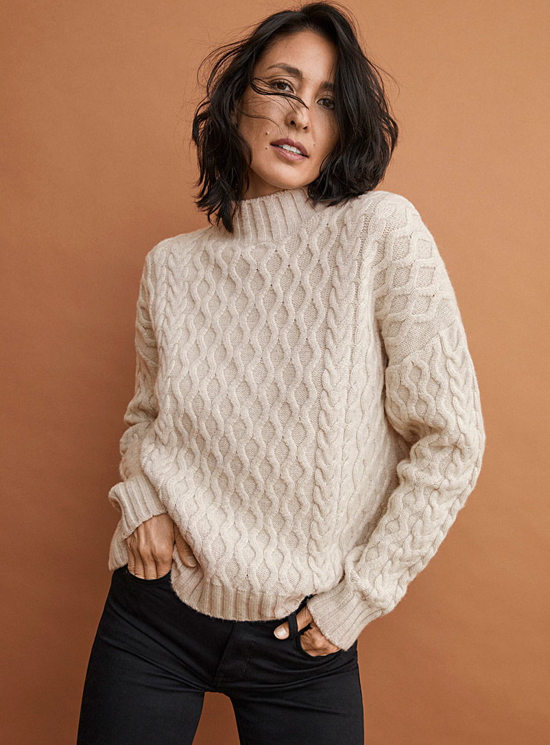Contemporaine Sand Wavy cable mock-neck sweater for women