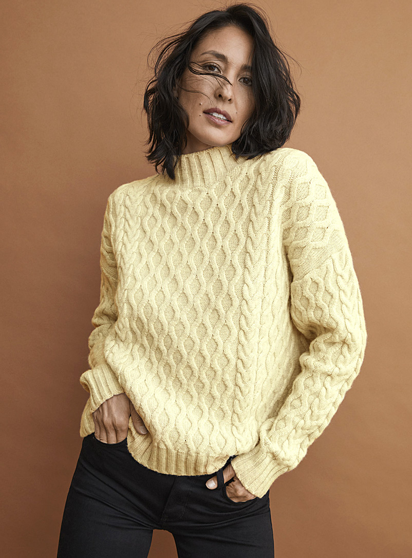 Wavy cable mock-neck sweater