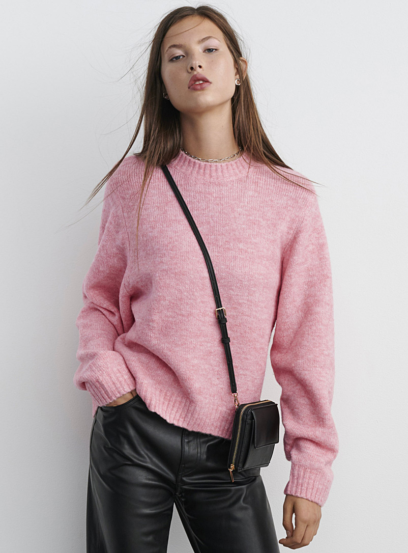 Twik Pink Puff-sleeve loose sweater for women