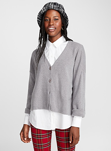 Four-button cropped cardigan