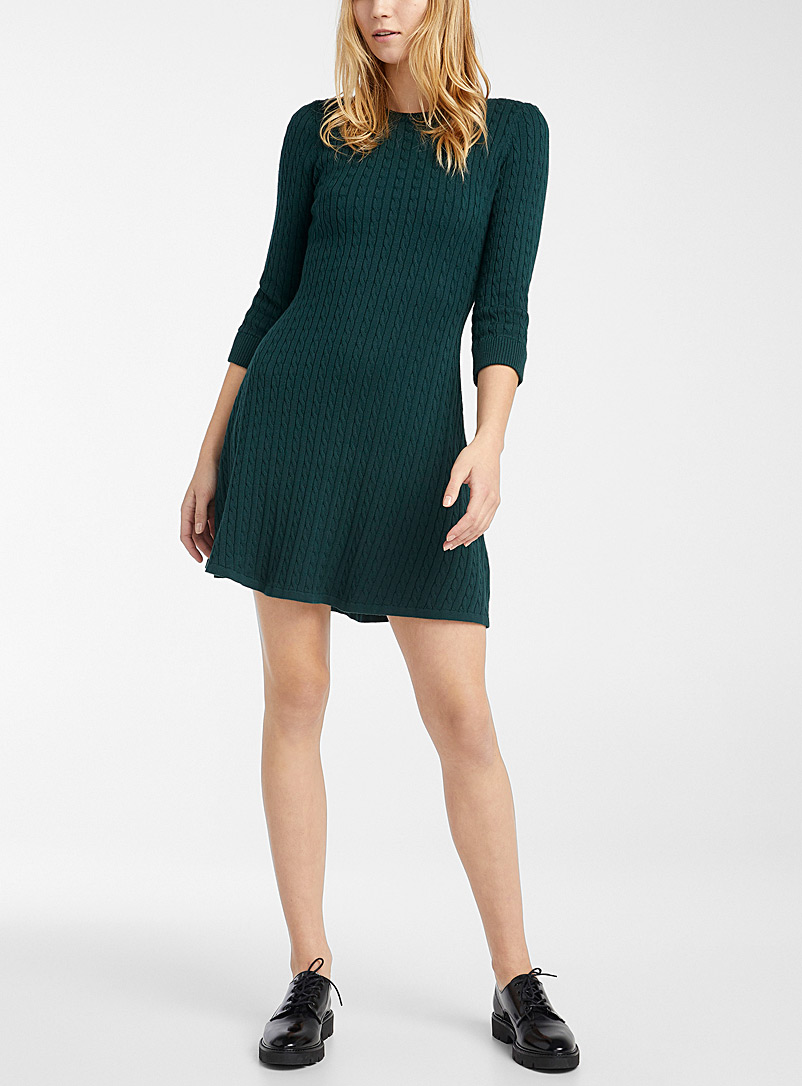 Mini cable knit dress