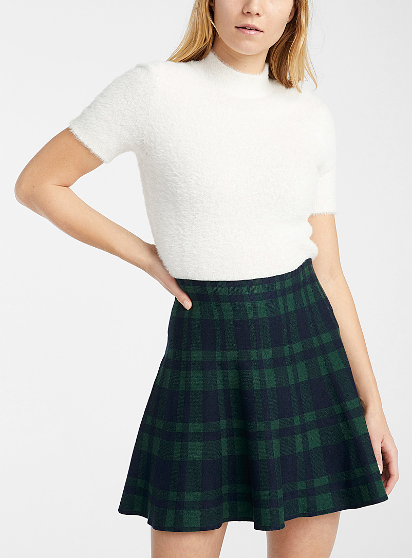 Twik Patterned Blue Structured knit skirt for women