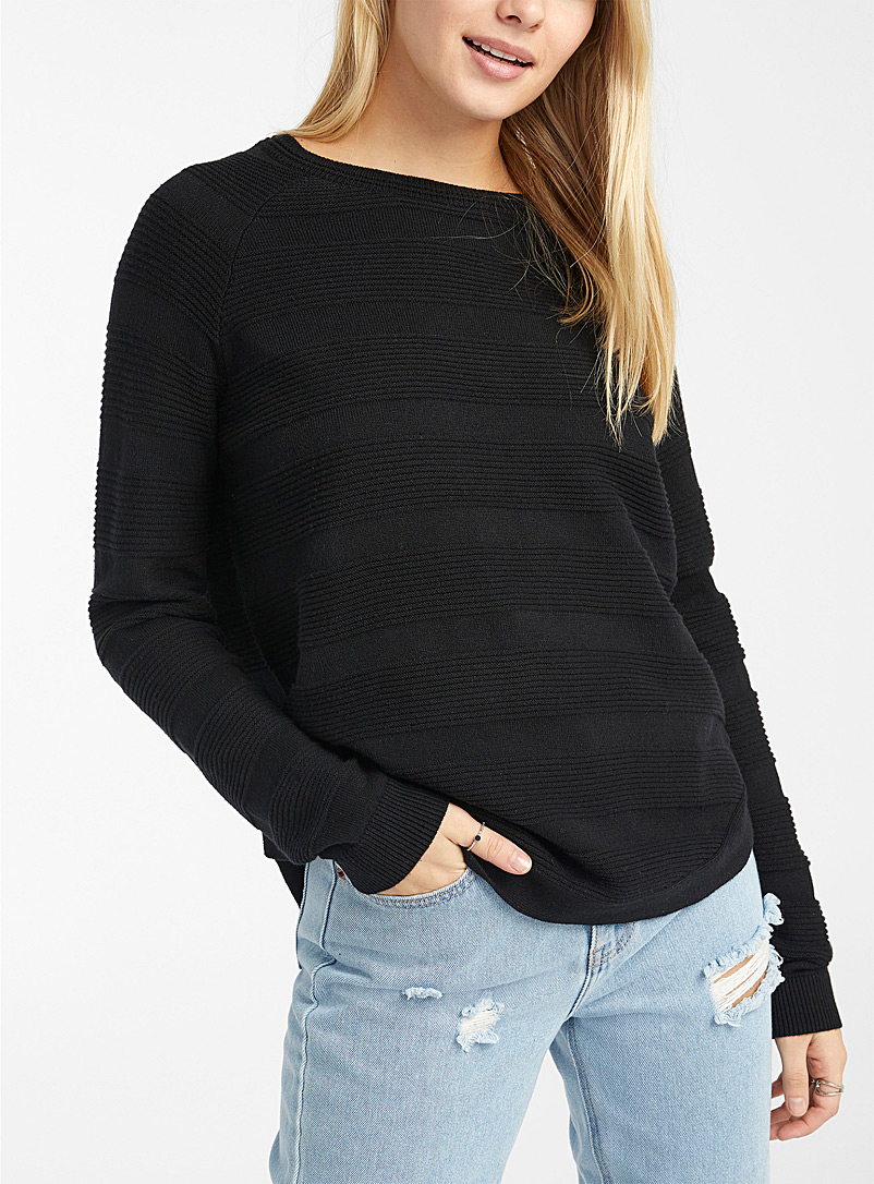 Twik Black Organic cotton ribbed block sweater for women