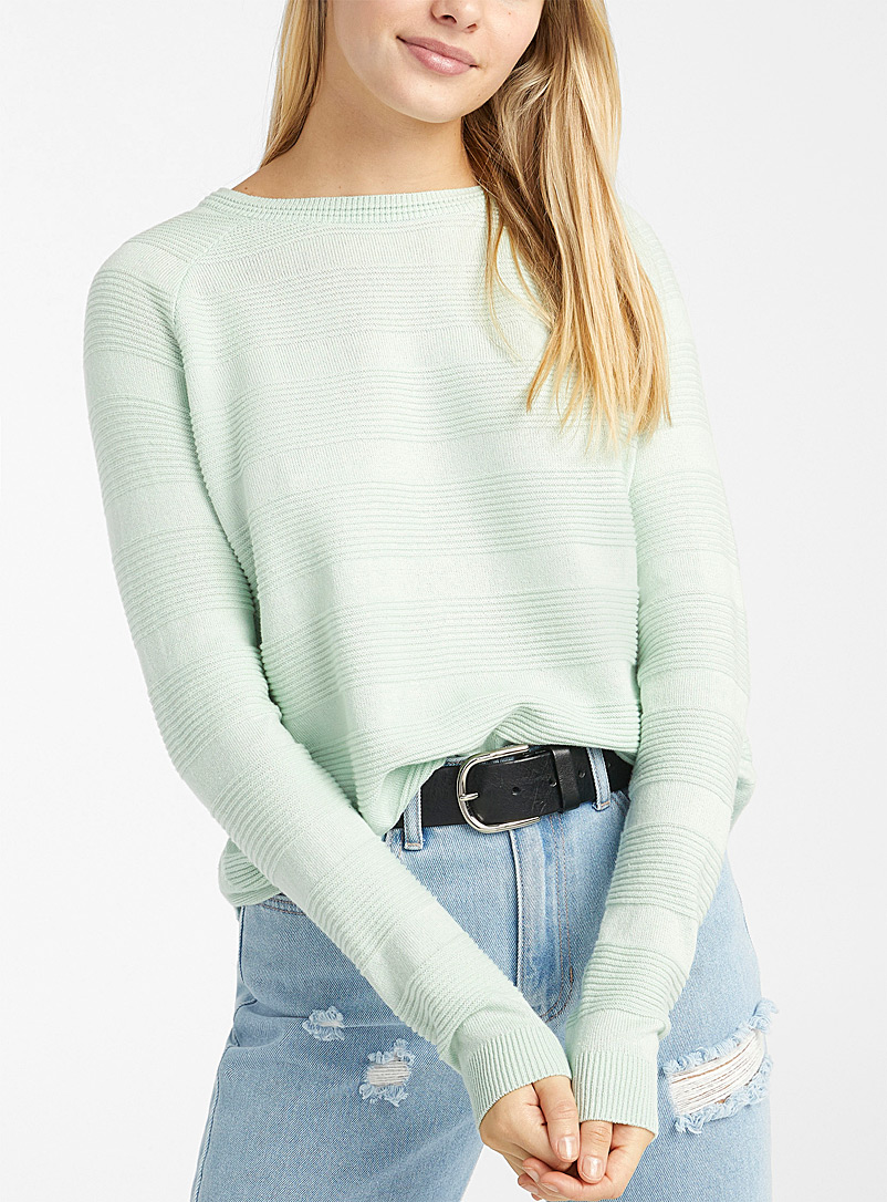 Organic cotton ribbed block sweater