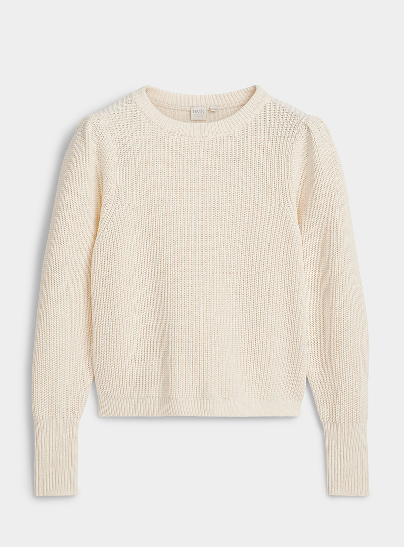 Twik Cream Beige Ribbed organic cotton puff-sleeve sweater for women