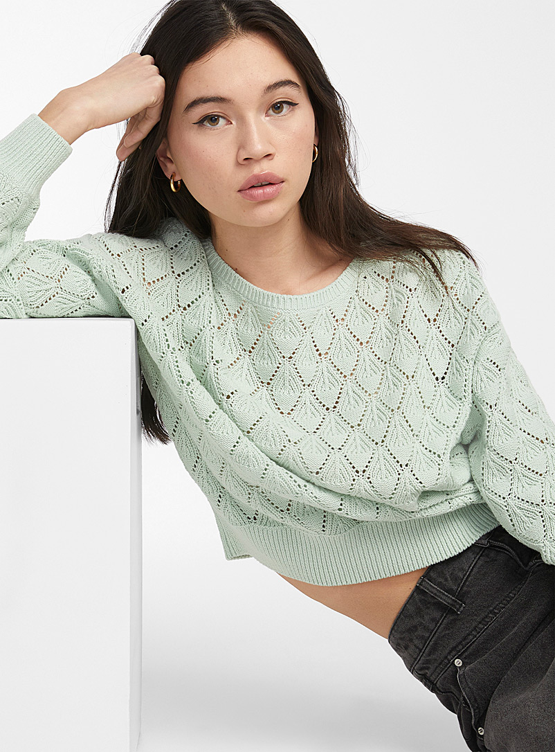 Twik Lime Green Organic cotton pointelle sweater for women