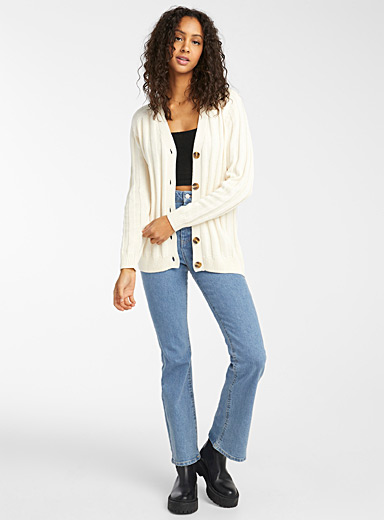 Ribbed organic cotton buttoned cardigan
