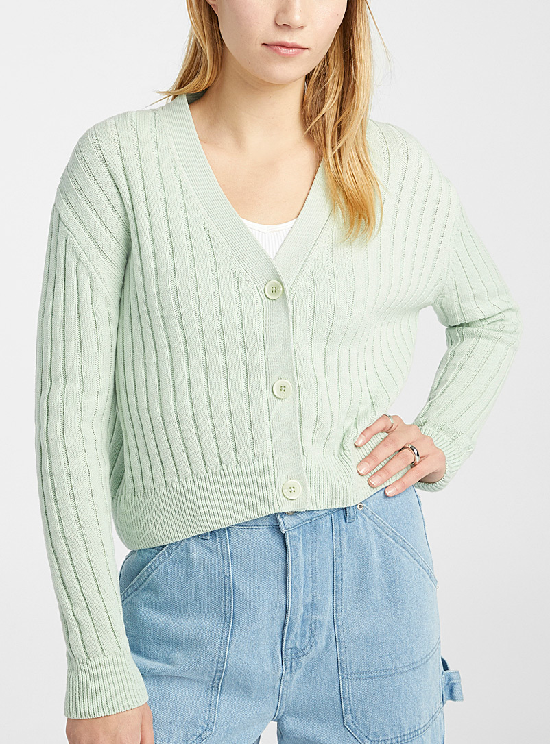 Twik Lime Green Wide-ribbed cropped cardigan for women