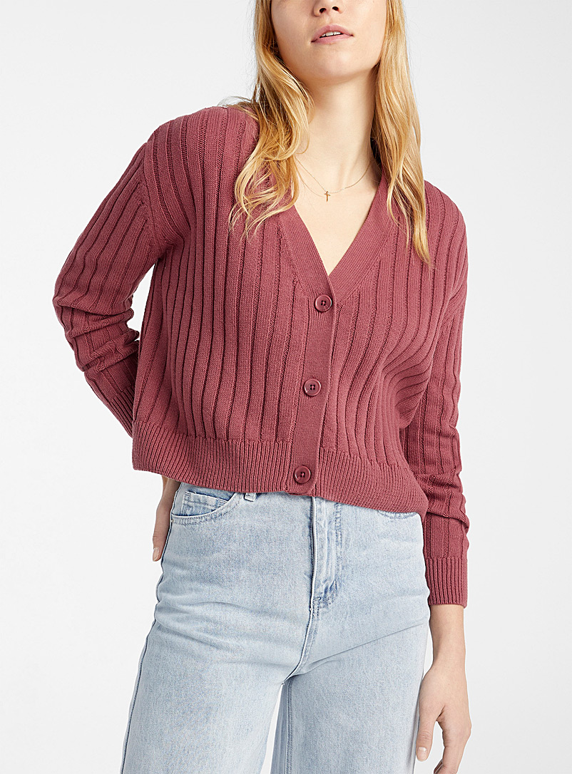 Twik Medium Pink Wide-ribbed cropped cardigan for women
