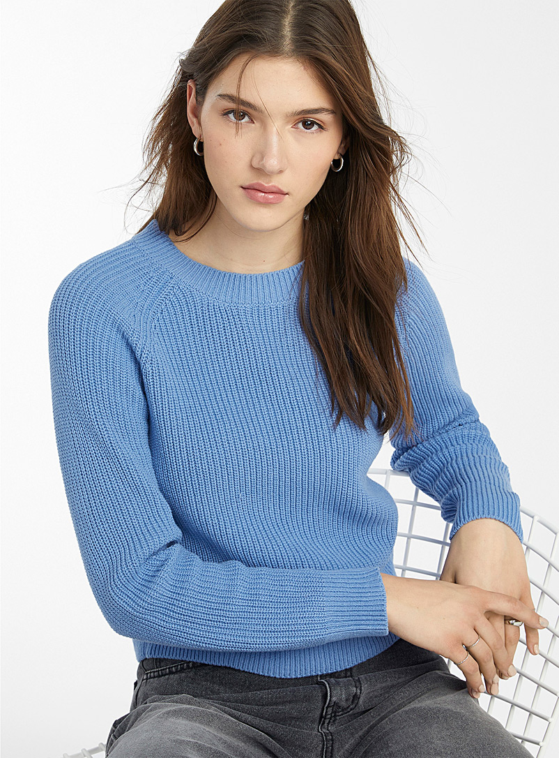 Twik Blue Ribbed organic cotton crew neck sweater for women