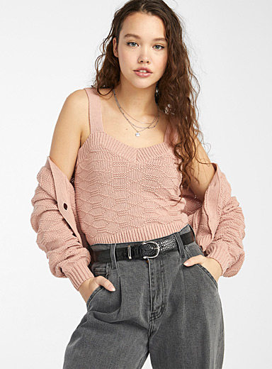 Hexagon knit cropped cami