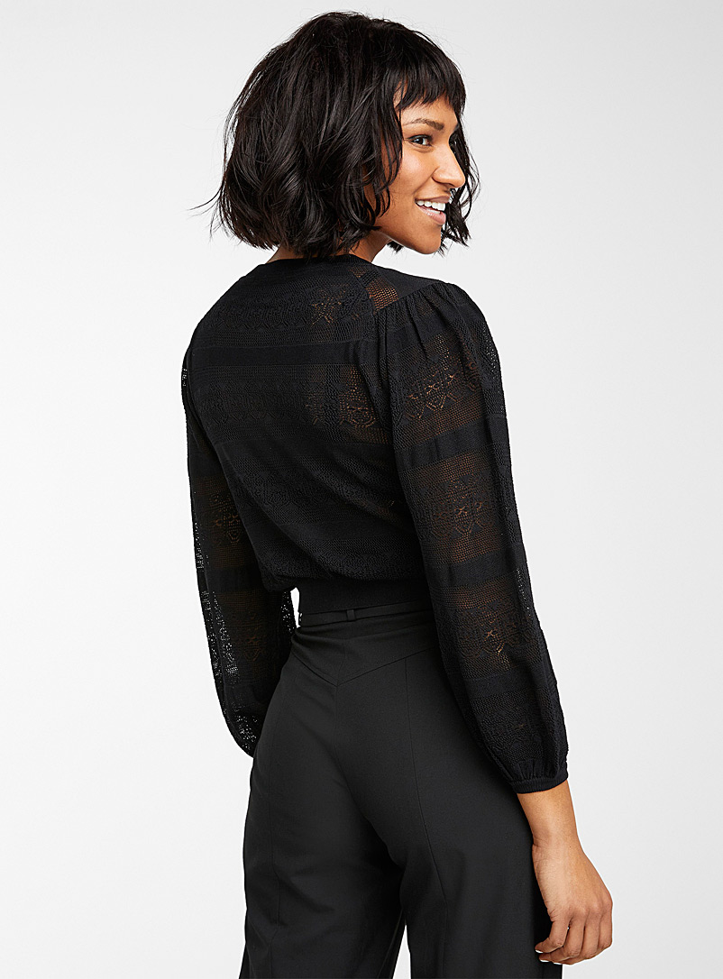 Icône Black Pointelle cropped cardigan for women