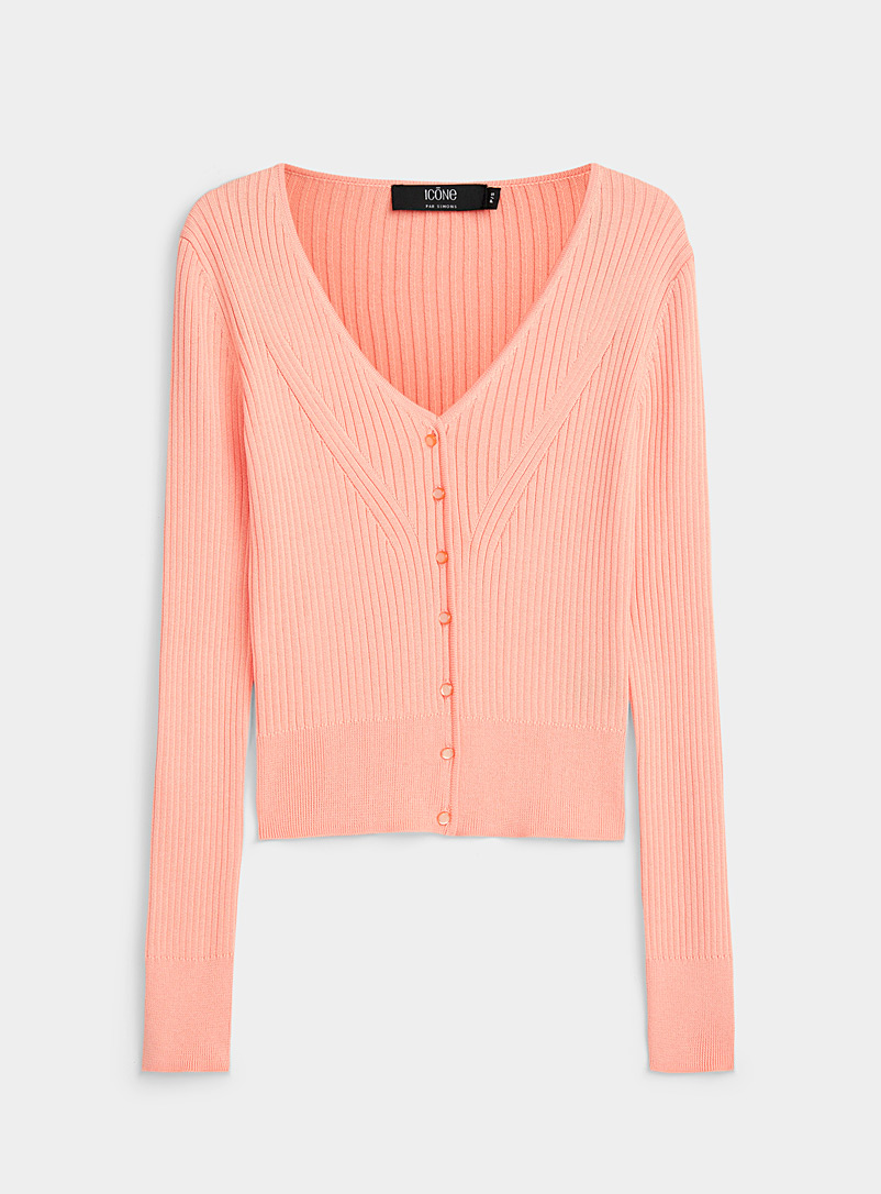 Icône Peach Organic cotton multi-rib V-neck cardigan for women