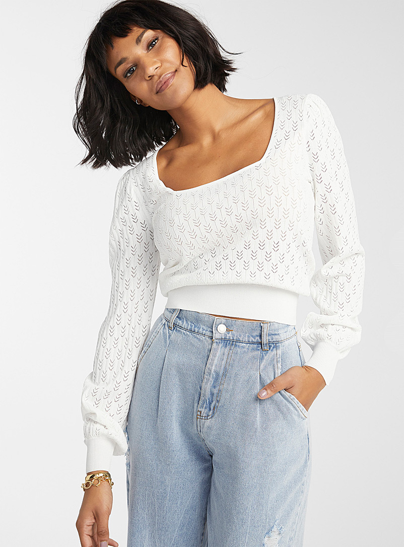 Icône White Square-neck pointelle sweater for women