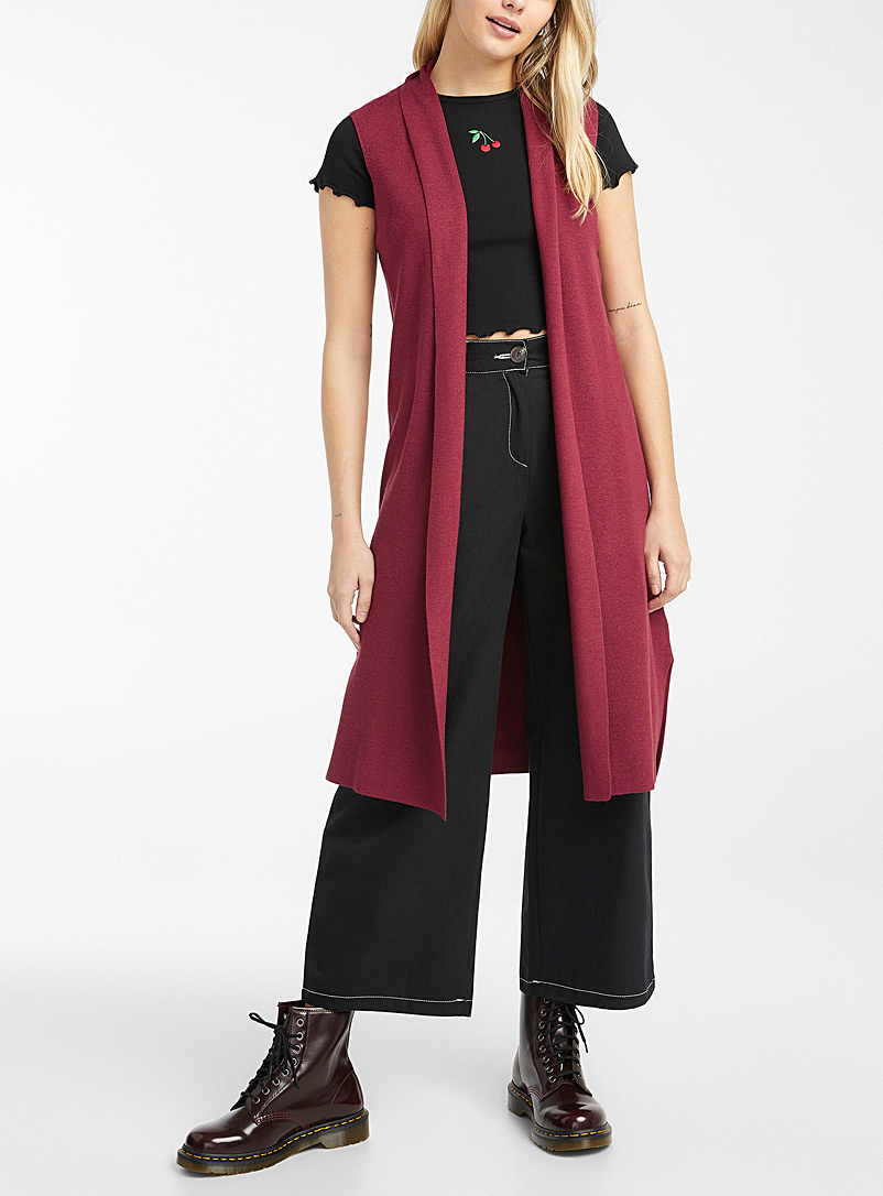 Twik Ruby Red Fine ribbed sleeveless vest for women