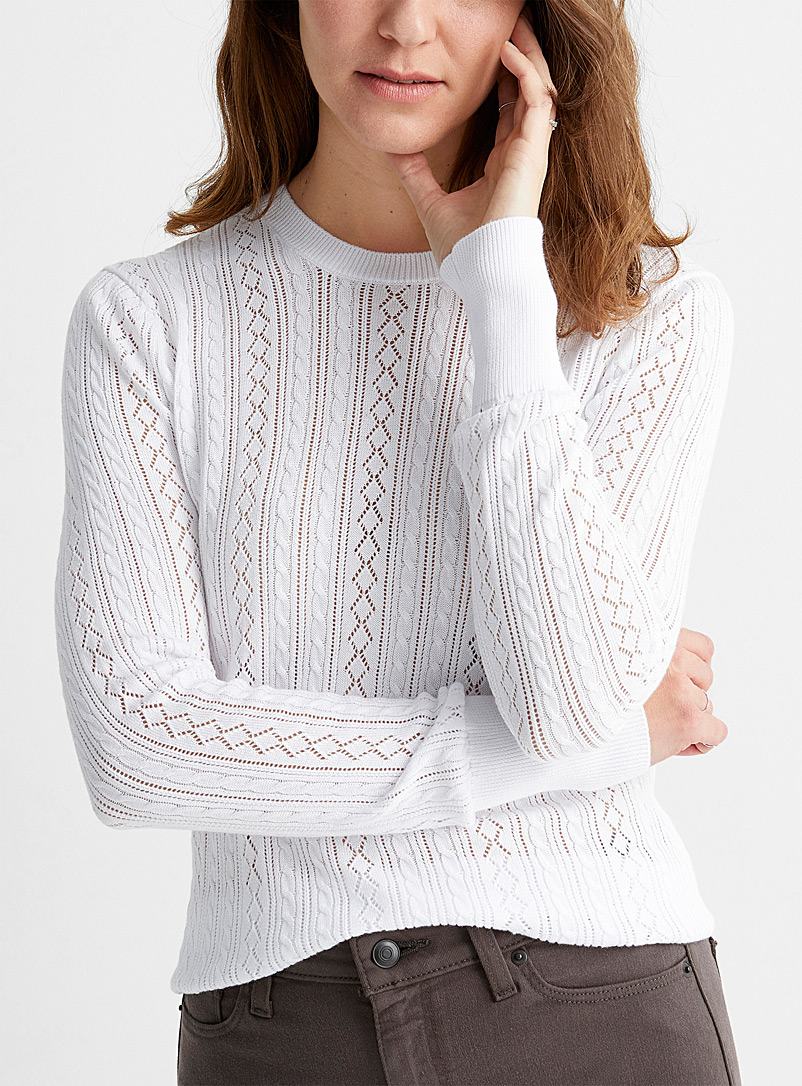 Contemporaine White Openwork twisted crew-neck sweater for women