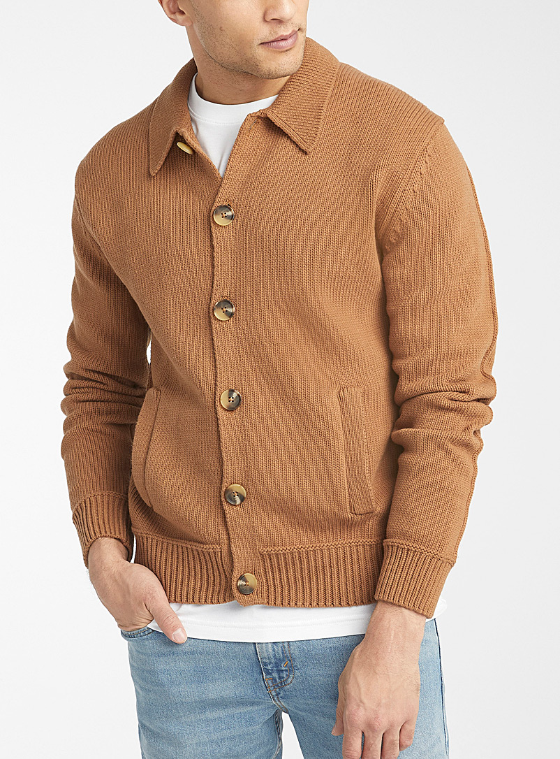 Le 31 Sand Retro overshirt-style cardigan for men