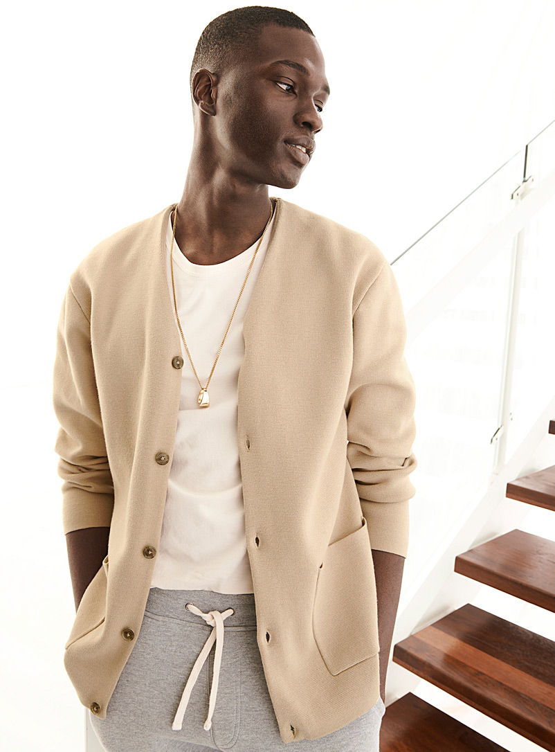 Le 31 Tan Structured knit cardigan for men