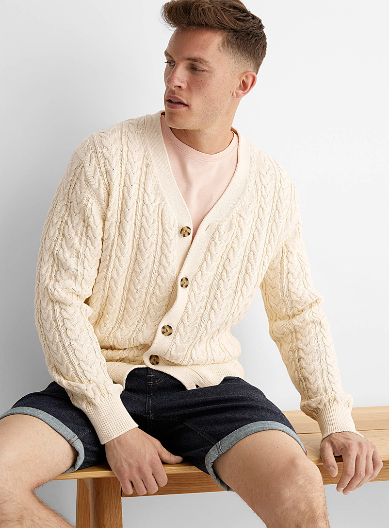 Le 31 Cream Beige Twisted-cable cardigan for men