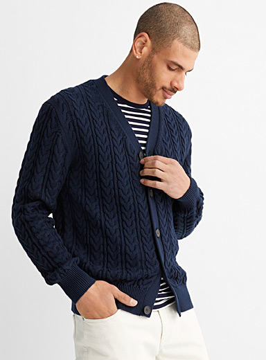 Twisted-cable cardigan