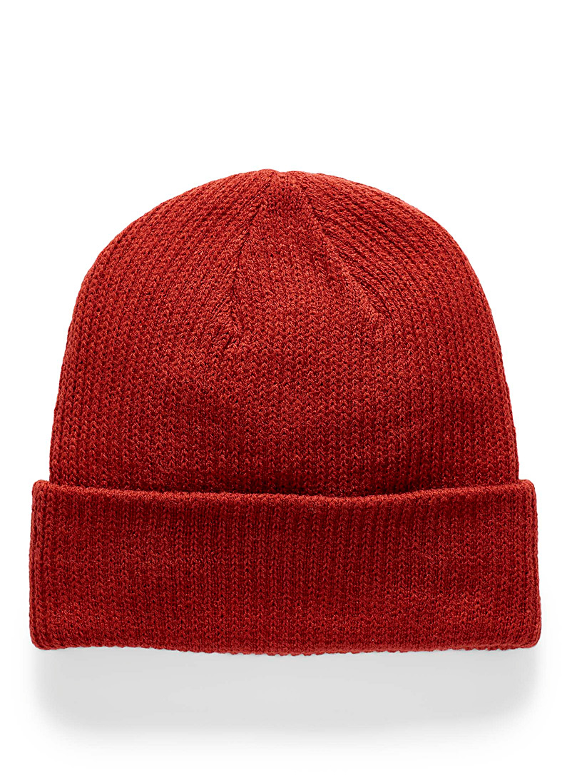 Simons Cherry Red Soft rib-knit tuque for women