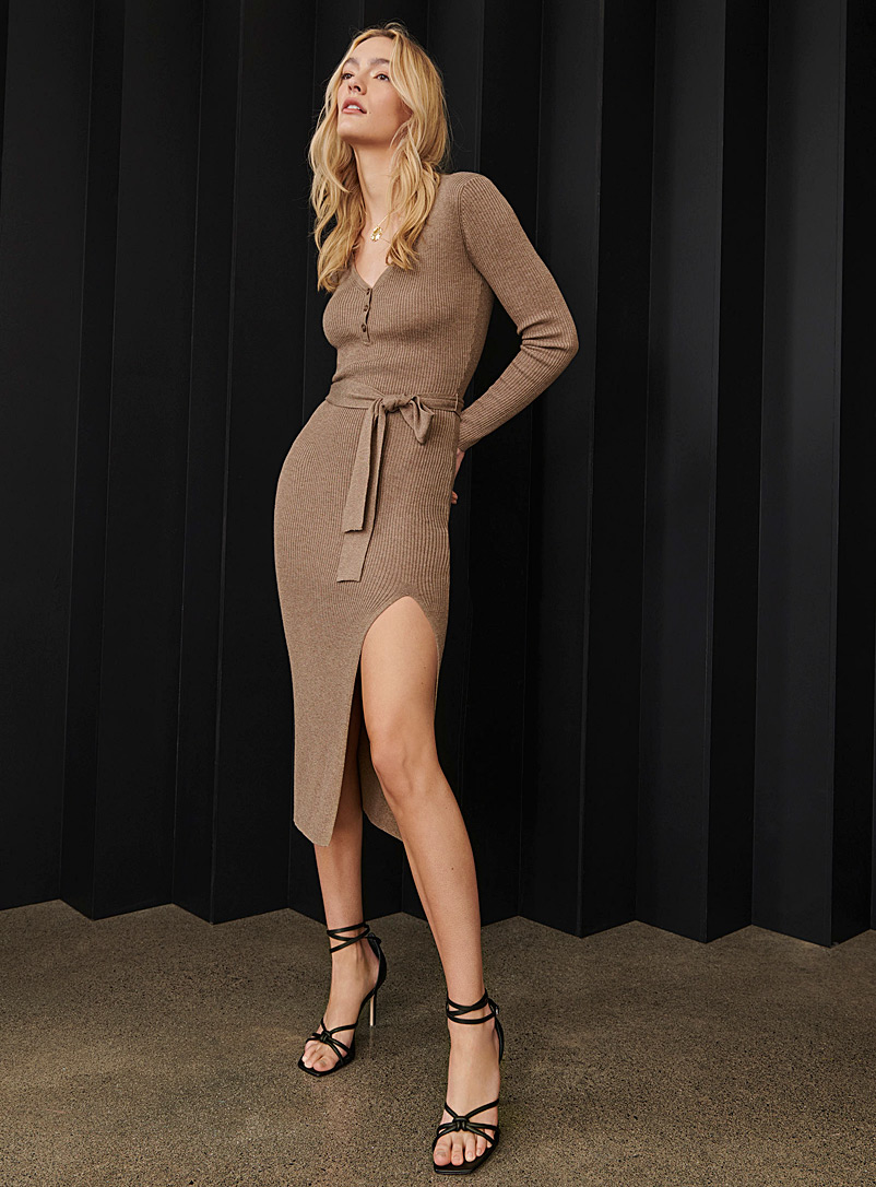 Icône Light Brown Touch of cashmere midi dress for women
