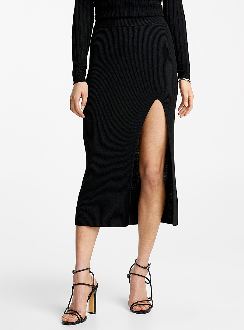 Icône Black Touch of cashmere midi skirt for women