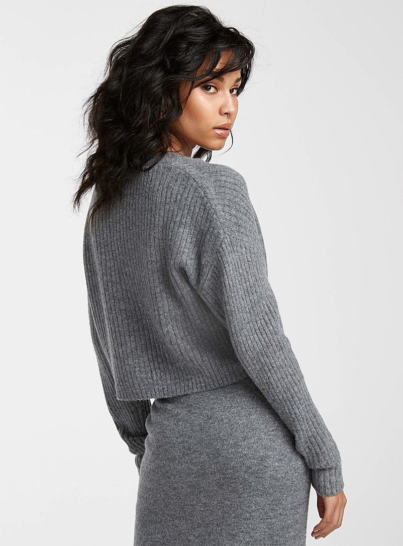 Icône Charcoal Brushed-knit cropped cardigan for women