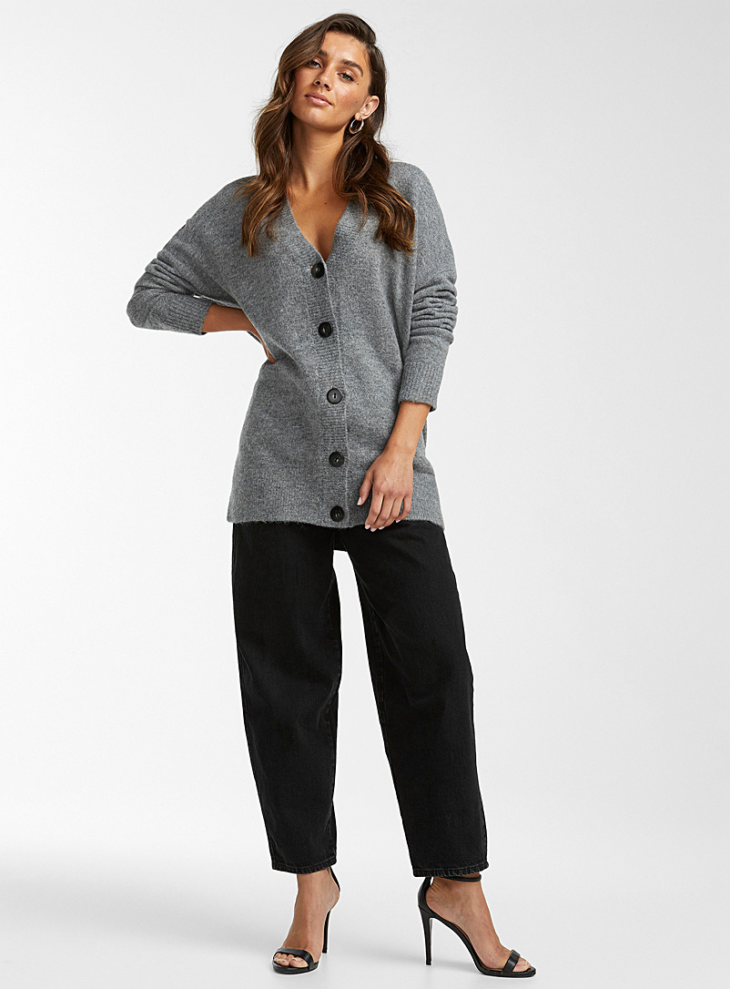Icône Charcoal Oversized heathered cardigan for women