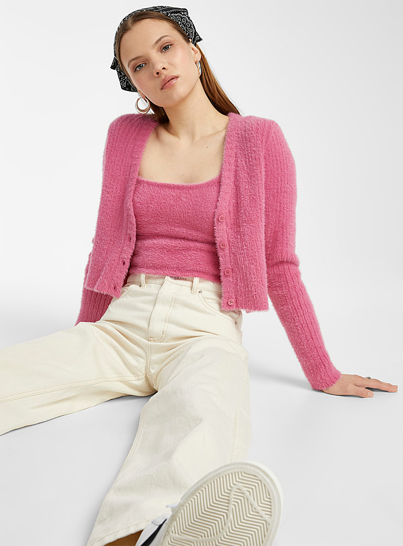Twik Pink Ribbed chenille V-neck cardigan for women
