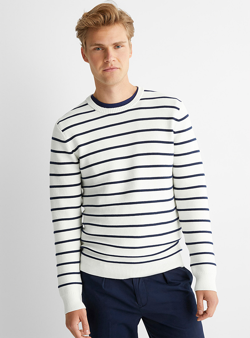 Le 31 Ivory White Neo-nautical sweater for men
